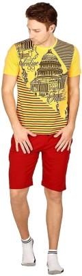 Valentine Men Printed Yellow Top & Shorts Set