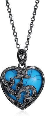 Yellow Chimes Antique Looks Black Gun Plated Blue Heart Platinum Alloy Pendant