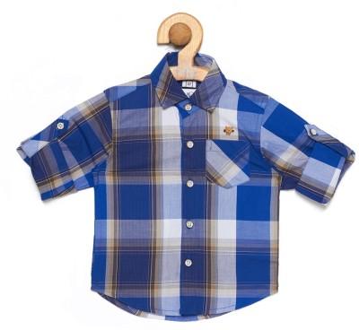 OKS mini Baby Boys Checkered Casual Spread Shirt