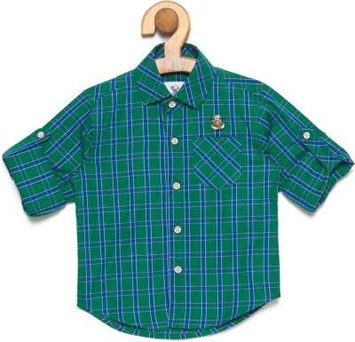 OKS mini Baby Boys Checkered Casual Green Shirt