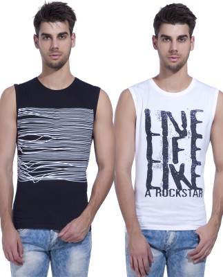 LEWEL Printed Men's Round Neck Black, White T-Shirt(Pack of 2)