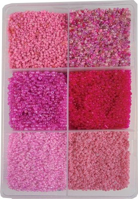 estore pink family colors 2mm (11/0) 300 gm glass beads, seed beads for jewelery making art and craft diy project kit