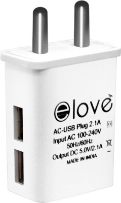 elove 2.1A Dual Port Fast Charger Adapter 2.1 A Multiport Mobile Charger White elove Wall Chargers