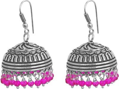 Silvesto India Pink Crystal Earrings,Temple Jewelry Jaipurn Silver Jhumkas-Large Jhumki Gypsy Tribal Jewellery Crystal Alloy Jhumki Earring  available at flipkart for Rs.406