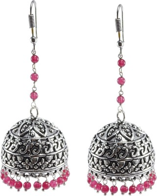 Silvesto India Pink Quartz Earrings,Temple Jewelry Jaipurn Silver Jhumkas-Large Jhumki Gypsy Tribal Jewellery Crystal Alloy Jhumki Earring  available at flipkart for Rs.492