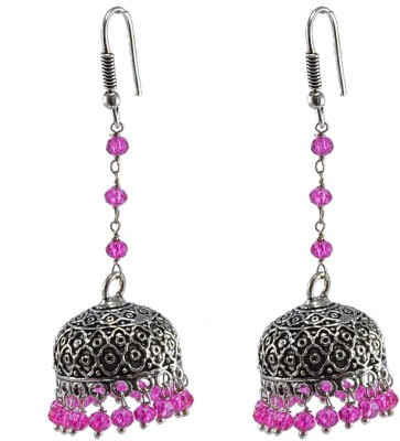 Silvesto India Pink Crystal Earrings,Temple Jewelry Jaipurn Silver Jhumkas-Large Jhumki Gypsy Tribal Jewellery Crystal Alloy Jhumki Earring  available at flipkart for Rs.358