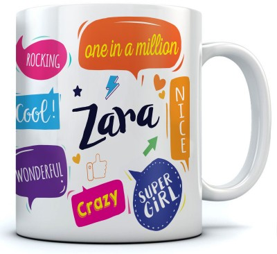RAMPOSH zara Name Printed Ceramic Coffee. 350 ml.Best Gift For Birthday Ceramic Mug(350 ml)  available at flipkart for Rs.271
