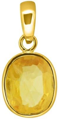 Tejvij and Sons 3.25 Ratti Natural Pukhraj Panchdhatu Pendent Gold Plated GLI Certified Yellow Gold Sapphire Metal Pendant