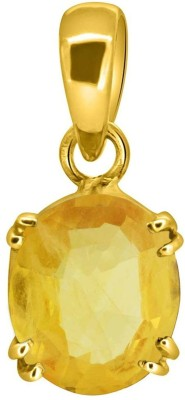 Tejvij and Sons 6.25 Ratti Natural Pukhraj Panchdhatu Pendent Gold Plated GLI Certified Gold-plated Sapphire Metal Pendant