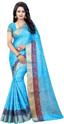 INDIAN BEAUTIFUL Self Design Daily Wear Cotton Silk Saree(Pack of 5, Light Blue)