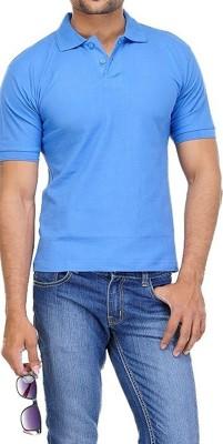 TNX Solid Men's Polo Neck Blue T-Shirt