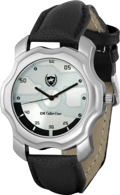 OM Collection Beautiful combination of Silver and Black Case and Dail with New design Black Leather Strap watch for Men and Watch -omwt-92 omwt Watch  - For Boys   Watches  (OM Collection)