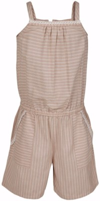 ShopperTree Romper For Girls Casual Striped Cotton Blend(Pink, Pack of 1) at flipkart