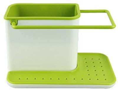 Simxen Kitchen Sink Tidy Self Draining Sink Caddy With Base Stand Organizer Brush Sponge Cleaning Cloth Holder Plastic Kitchen Rack(Green, White)  available at flipkart for Rs.390