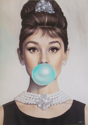Audrey Hepburn Bubble Gum Artistic Poster - Posters for Home & Office Fine Art Print(18 inch X 12 inch)  available at flipkart for Rs.185