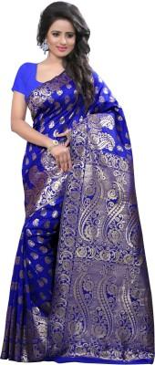 Creative Work Paisley Banarasi Polycotton, Banarasi Silk Saree(Blue)