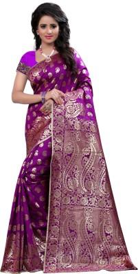 Creative Work Paisley Banarasi Polycotton, Banarasi Silk Saree(Purple)