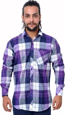 Gloria Shirts Men's Checkered Casual Purple Shirt