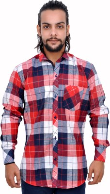 Gloria Shirts Men's Checkered Casual Red Shirt