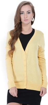 Forever 21 Solid V-neck Casual Women Yellow Sweater