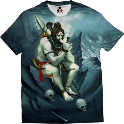 Stand Out Printed, Graphic Print, Superhero, Conversational Men & Women Round Neck Blue T-Shirt