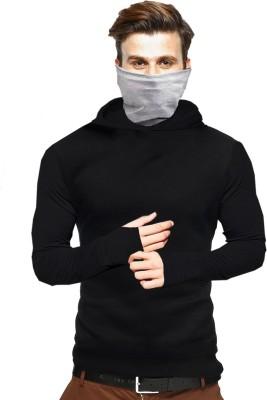 Tripr Solid Men Hooded Neck Black T-Shirt