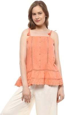 People Casual Sleeveless Solid Women Orange Top