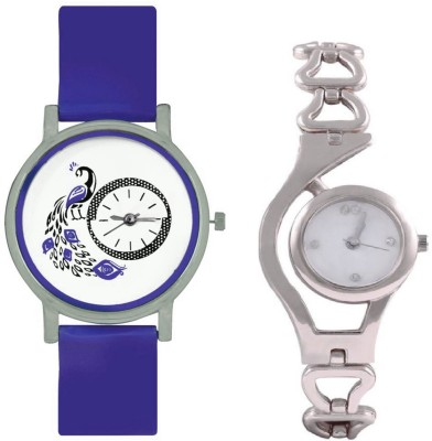 INDIUM NEW SILVER AND WHITE TYPE CHAIN WATCH WITH INTERNAL DESIGN OF PEACOCK WATCH LATEST COLLECTION Watch  - For Girls   Watches  (INDIUM)