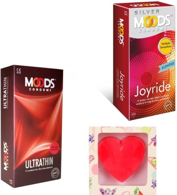 Moods Ultra Thin & Joyride Condoms With Premium Heart Shape Soap Condom(Set of 2, 24S)  available at flipkart for Rs.248