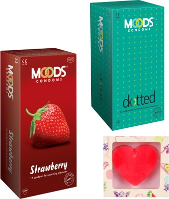 Moods Dotted & Strawberry Condoms With Premium Heart Shape Soap Condom(Set of 2, 24S)  available at flipkart for Rs.198