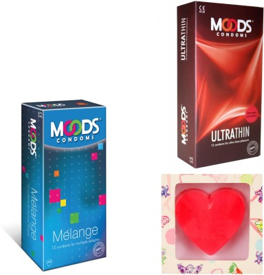 Moods Ultra Thin & Melange Condoms With Premium Heart Shape Soap Condom(Set of 2, 24S)  available at flipkart for Rs.198