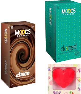 Moods Dotted & Choco Condoms With Premium Heart Shape Soap Condom(Set of 2, 24S)  available at flipkart for Rs.200