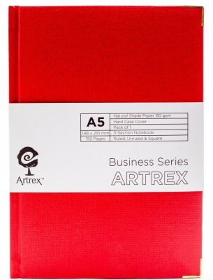 ARTREX A5 Note Book(BUSINESS A5 HARD CASE RULED + UNRULED + SQUARE NOTE BOOK, Red)  available at flipkart for Rs.450