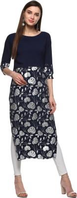 ALC Creations Floral Print Women Straight Kurta(Blue, Silver)