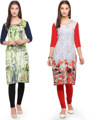 Envy 9 Casual Printed Women Kurti(Pack of 2, Multicolor, Red)