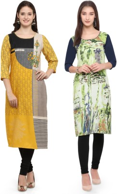Envy 9 Casual Printed Women Kurti(Pack of 2, Yellow, Multicolor)