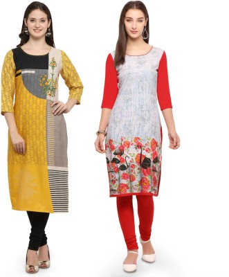 Envy 9 Casual Printed Women Kurti(Pack of 2, Yellow, Red)