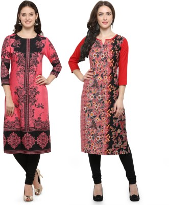 Envy 9 Casual Printed Women Kurti(Pack of 2, Pink, Red)
