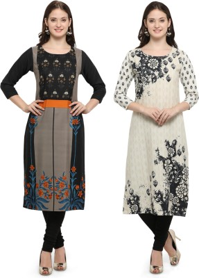 Envy 9 Casual Printed Women Kurti(Pack of 2, Black, Yellow)