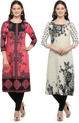 Envy 9 Casual Printed Women Kurti(Pack of 2, Pink, White)
