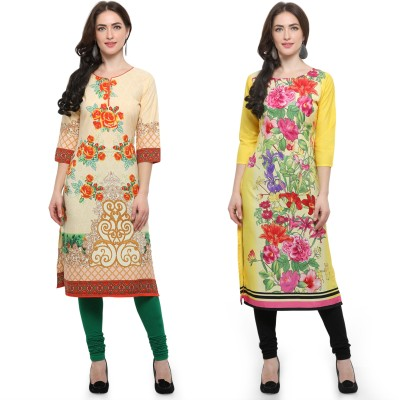 Envy 9 Casual Printed Women Kurti(Pack of 2, Red, Beige)