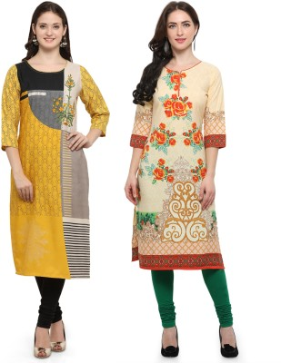 Envy 9 Casual Printed Women Kurti(Pack of 2, Black, Beige)