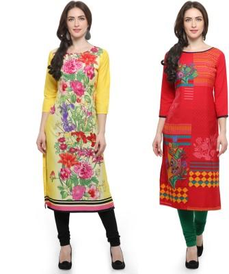 Envy 9 Casual Floral Print Women Kurti(Pack of 2, Multicolor)