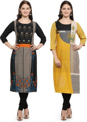 Envy 9 Casual Printed Women Kurti(Pack of 2, Black, White)