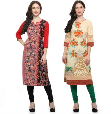 Envy 9 Casual Printed Women Kurti(Pack of 2, Beige, Yellow)