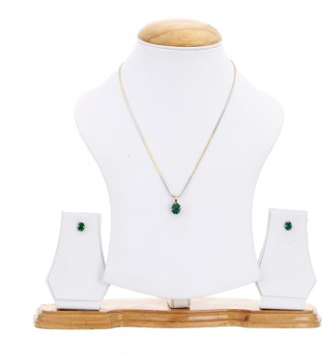 Zeneme Jewellery American Diamond MATT GREEN Oval Shaped Gold Plated Pendant Set With Earring For Girls / Women Alloy Pendant Set