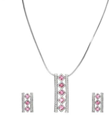 Mahi Red Victorian Heart Rhodium Swarovski Crystal Alloy Pendant