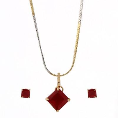 Zeneme Jewellery American Diamond MATT RED Round Shaped Gold Plated Pendant Set With Earring For Girls / Women Alloy Pendant Set