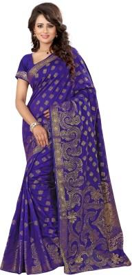 Creative Work Woven Banarasi Polycotton, Banarasi Silk Saree(Blue)