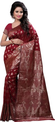 Creative Work Woven Banarasi Polycotton, Banarasi Silk Saree(Maroon)